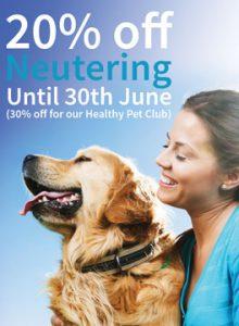 20% off neutering campaign - 10 April until 30 June
